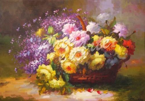 Cesto con fiori for Fiori dipinti ad olio